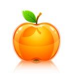 Frutta gialla di vetro lucida della mela con il foglio Fotografie Stock Libere da Diritti