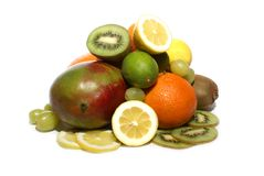 Frutti isolati su bianco Fotografia Stock Libera da Diritti