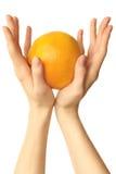 Frutta in mani Immagini Stock Libere da Diritti