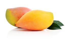 Frutta matura del mango con le foglie Fotografia Stock Libera da Diritti