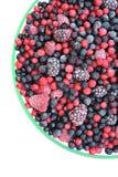 Frutta mixed congelata in ciotola - bacche Fotografia Stock