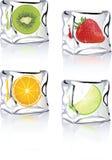 Frutta nelle icone del cubo di ghiaccio per il vista, xp, stampa Fotografia Stock