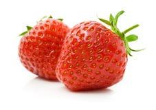 Frutta rossa della fragola isolata su bianco Fotografia Stock