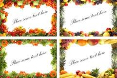 Frutta sane e verdure isolate su bianco Fotografia Stock Libera da Diritti