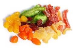 Frutta secca su un fondo bianco Fotografia Stock Libera da Diritti