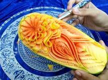 Frutta tailandese che scolpisce con la mano Fotografia Stock Libera da Diritti