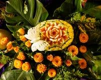 Frutta tailandese che scolpisce fatto a mano unico Immagine Stock