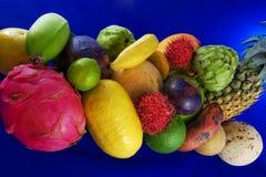 Frutta tropicale su priorità bassa blu Fotografia Stock
