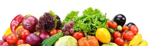 Frutta utile e verdure della raccolta isolate su backgr bianco Fotografia Stock