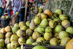 Frutta verde fresca Bangkok, Tailandia, Kuala Lumpur, Malesia della noce di cocco fotografia stock libera da diritti