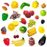 Frutta, verdure e noci isolate Immagine Stock