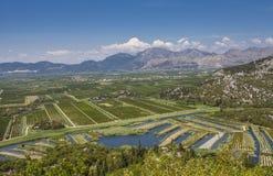 Frutteti e campi agricoli nel neretva Croa di delta del fiume Fotografia Stock