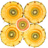 Frutti affettati isolati. Kiwi, ananas, arancia, pompelmo Fotografie Stock Libere da Diritti