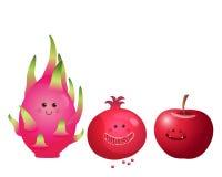 Frutti-Apple sveglio, frutta del drago, melograno Fotografia Stock Libera da Diritti