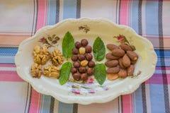 Frutti asciutti sul piatto ceramico di Rosenthal Fotografie Stock
