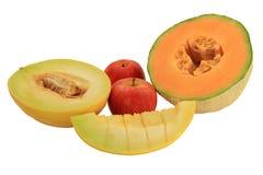 Frutti assortiti - meloni e mele immagini stock