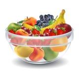 Frutti in ciotola di vetro Immagini Stock Libere da Diritti