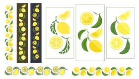 Frutti del limone e dell'ornamento colorato foglie Fotografie Stock