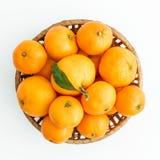 Frutti del mandarino in piatto su fondo bianco Disposizione piana, vista superiore Fotografia Stock