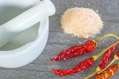 Frutti del peperoncino rosso e sale del peperoncino rosso Immagine Stock