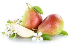 Frutti della frutta fresca della pera delle pere isolati su bianco Fotografia Stock Libera da Diritti