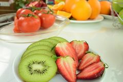 Frutti della miscela La frutta fresca si chiude in su Cibo sano, concetto stante a dieta fotografia stock libera da diritti