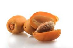 Frutti delle date su fondo bianco Fotografia Stock