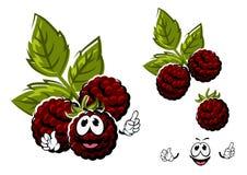 Frutti di bacche della mora del fumetto con le foglie Immagini Stock Libere da Diritti
