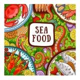 Frutti di mare Concetto di progetto per il negozio, ristorante illustrazione vettoriale