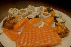 Frutti di mare del sashimi e dei sushi Immagini Stock Libere da Diritti
