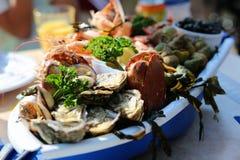 Frutti di mare deliziosi sul piatto Fotografia Stock
