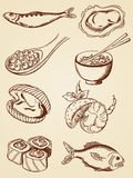 Frutti di mare disegnati a mano dell'annata Fotografie Stock