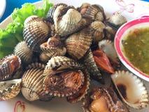 Frutti di mare freschi cucinati del cuore edule con salsa piccante fotografia stock
