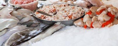 Frutti di mare freschi su ghiaccio fotografia stock