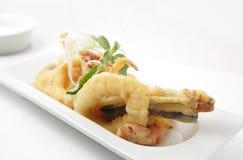 Frutti di mare fritti nel grasso bollente Immagini Stock Libere da Diritti