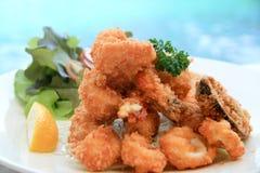Frutti di mare fritti nel grasso bollente Fotografie Stock Libere da Diritti