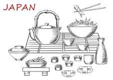 Frutti di mare giapponesi con tè verde Immagine Stock Libera da Diritti