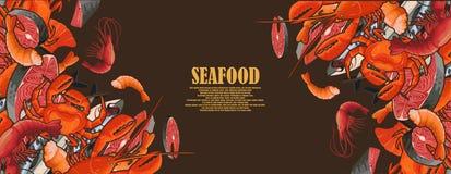 Frutti di mare incorniciati sotto forma di struttura Immagini Stock
