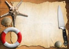 Frutti di mare - modello del menu Fotografia Stock Libera da Diritti