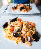 Frutti Di Mare pasta with variety of seafood Stock Image