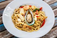 Frutti di mare piccanti degli spaghetti Fotografia Stock
