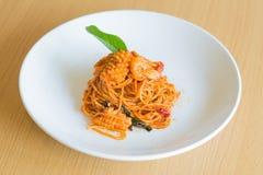 Frutti di mare piccanti degli spaghetti Fotografie Stock