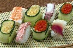 Frutti di mare, riso e verdure Fotografie Stock Libere da Diritti
