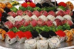 Frutti di mare, rullo, sushi e sashimi asiatici Immagine Stock