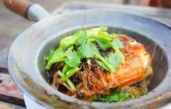 Frutti di mare tailandesi, gambero del flusso Fotografia Stock Libera da Diritti