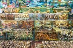 Frutti di mare in tensione fuori di un ristorante in Sai Kung, Hong Kong Fotografie Stock Libere da Diritti