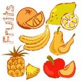 Frutti disegnati a mano messi Fotografie Stock Libere da Diritti