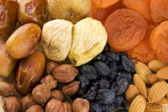 Frutti e dadi secchi Fotografia Stock