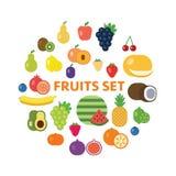 Frutti ed insieme dell'icona delle bacche Immagini Stock