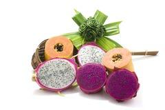 Frutti isolati su un bianco Fotografia Stock Libera da Diritti